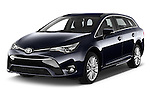 2015 Toyota Avensis Business Executive 5 Door Wagon Angular Front stock photos of front three quarter view