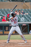 Mesa Solar Sox third baseman Kelvin Gutierrez (21) of the Washington Nationals organization, at bat during an Arizona Fall League game against the Salt River Rafters on October 30, 2017 at Salt River Fields at Talking Stick in Scottsdale, Arizona. The Solar Sox defeated the Rafters 8-4. (Zachary Lucy/Four Seam Images)