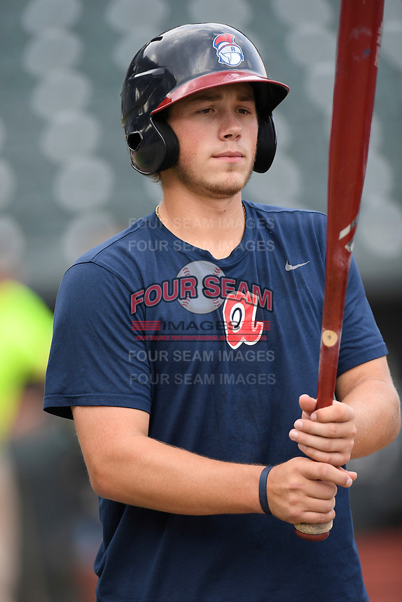 Catcher Logan Brown (99) of the Rome Braves takes batting practice before a game against the Columbia Fireflies on Tuesday, June 4, 2019, at Segra Park in Columbia, South Carolina. Columbia won, 3-2. (Tom Priddy/Four Seam Images)
