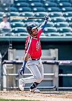 6 June 2021: Binghamton Rumble Ponies infielder Luis Carpio in action against the New Hampshire Fisher Cats at Northeast Delta Dental Stadium in Manchester, NH. The Rumble Ponies defeated the Fisher Cats 9-6 to close out their 6-game series. Mandatory Credit: Ed Wolfstein Photo *** RAW (NEF) Image File Available ***