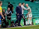 Celtic v St Johnstone…12.05.21  SPFL Celtic Park<br />Scott Brown all smiles with John Kennedy as he is subbed during his last game at Celtic Park<br />Picture by Graeme Hart.<br />Copyright Perthshire Picture Agency<br />Tel: 01738 623350  Mobile: 07990 594431