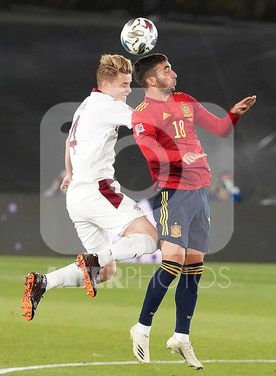 Spain's Ferran Torres (r) and Switzerland's Nico Elvedi during UEFA Nations League 2020 League Phase match. October 10,2020.(ALTERPHOTOS/Acero)