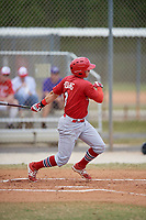 St. Louis Cardinals Andy Young (3) bats during a minor league Spring Training game against the Washington Nationals on March 27, 2017 at the Roger Dean Stadium Complex in Jupiter, Florida.  (Mike Janes/Four Seam Images)