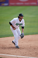 Clinton LumberKings third baseman Joe Rizzo (10) during a game against the Lansing Lugnuts on May 9, 2017 at Ashford University Field in Clinton, Iowa.  Lansing defeated Clinton 11-6.  (Mike Janes/Four Seam Images)