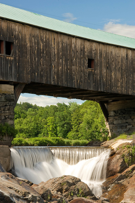 A close-up of a span in the Bath Covered Bridge.