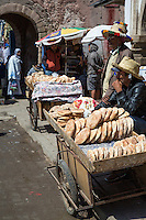 Essaouira, Morocco.  Bread Vendor Carts inside the Medina.  Ave. Mohamed Zerktouni.