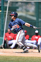 Atlanta Braves outfielder Josh Elander during a minor league spring training game against the Washington Nationals on March 26, 2014 at Wide World of Sports in Orlando, Florida.  (Mike Janes/Four Seam Images)