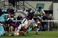 Tui Uru of Nottingham Rugby ploughs through the London Scottish defence during the Greene King IPA Championship match between London Scottish Football Club and Nottingham Rugby at Richmond Athletic Ground, Richmond, United Kingdom on 7 February 2020. Photo by Carlton Myrie.