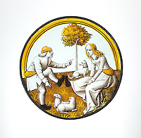 Roundel with Playing at Quintain. ca. 1500. Colorless glass, vitreous paint and silver stain. The Metropolitan Museum of Art, New York