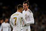 Eden Hazard (L) and Gareth Bale (R) of Real Madrid during La Liga match between Real Madrid and RC Celta de Vigo at Santiago Bernabeu Stadium in Madrid, Spain. February 16, 2020. (ALTERPHOTOS/A. Perez Meca)