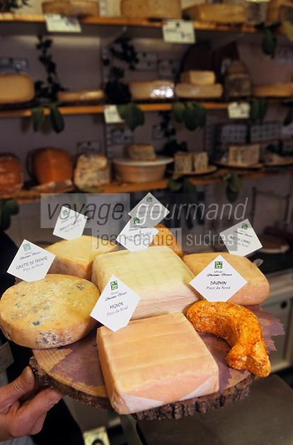 """Europe/France/Nord-Pas-de-Calais/59/Nord/Lille: Plateau de fromages du Nord chez """"Philippe Olivier"""" fromager-affineur"""
