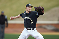 Wake Forest Demon Deacons starting pitcher Colin Peluse (8) in action against the Illinois Fighting Illini at David F. Couch Ballpark on February 16, 2019 in  Winston-Salem, North Carolina.  The Fighting Illini defeated the Demon Deacons 5-2.  (Brian Westerholt/Four Seam Images)