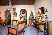 Cuba, Trinidad.  Home Living Room Decorated for Christmas.