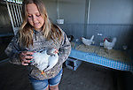 Heather Peterson, 16, shows off her Columbian Rock chickens at the annual Farm Days event at Fuji Park in Carson City, Nev., on Thursday, April 17, 2014.<br /> Photo by Cathleen Allison