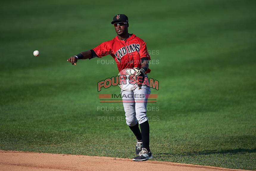 Indianapolis Indians second baseman Alen Hanson (13) throws to first after fielding a ground ball during a game against the Rochester Red Wings on June 10, 2015 at Frontier Field in Rochester, New York.  Indianapolis defeated Rochester 5-3.  (Mike Janes/Four Seam Images)