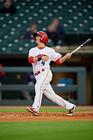 Louisville Bats designated hitter Tony Renda (4) bats during a game against the Columbus Clippers on May 1, 2017 at Louisville Slugger Field in Louisville, Kentucky.  Columbus defeated Louisville 6-1  (Mike Janes/Four Seam Images)