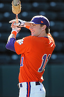 Outfielder Kyle Parker (11) of the Clemson Tigers prior to a game against the Michigan State Spartans Saturday, Feb. 20, 2010, at Fluor Field at the West End in Greenville, S.C. Parker is ranked No. 73 on Baseball America's list of top 100 college prospects. Parker is also quarterback of the Clemson football team. Photo by: Tom Priddy/Four Seam Images