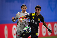 LAKE BUENA VISTA, FL - JULY 16: Hector Jimenez #16 of the Columbus Crew SC battles for the ball during a game between New York Red Bulls and Columbus Crew at Wide World of Sports on July 16, 2020 in Lake Buena Vista, Florida.