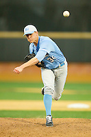North Carolina Tar Heels relief pitcher Peter Hendel (34) delivers a pitch to the plate against the Wake Forest Demon Deacons at Wake Forest Baseball Park on March 9, 2013 in Winston-Salem, North Carolina.  The Tar Heels defeated the Demon Deacons 20-6.  (Brian Westerholt/Four Seam Images)