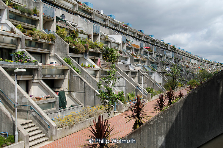 The Grade II* listed  Alexandra and Ainsworth Estate in Swiss Cottage, London, was designed by Neave Brown of Camden Council's Architects Department and completed in 1978.