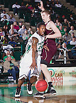 North Texas Mean Green guard Trey Norris (14) in action during the game between the Louisiana Monroe Warhawks and the University of North Texas Mean Green at the North Texas Coliseum,the Super Pit, in Denton, Texas. UNT defeats ULM 86 to 51...