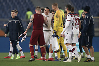 Football, Serie A: AS Roma - Bologna FC, Olympic stadium, Rome, February 18, 2019. <br /> Roma's and Bologna's players greets at the end of the Italian Serie A football match between AS Roma and Bologna FC at Olympic stadium in Rome, on February 18, 2019. Roma's wins the match 2-1.<br /> UPDATE IMAGES PRESS/Isabella Bonotto