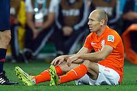 Arjen Robben of the Netherlands looks dejected