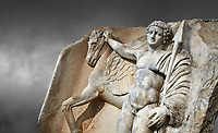 "Close up of a Roman Sebasteion relief  sculpture of  Bellerophon Aphrodisias Museum, Aphrodisias, Turkey.    <br /> <br /> Bellerophon was a Lykian hero and was claimed as a founder of Aphrodisias. He holds his winged horse Pegasos. The deign was modelled on another relief panel in the series ""Royal hero with Dod Hunting"". The carving is poor and the sculptor may have been a novice.modelled"
