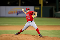 AZL Angels relief pitcher Jeremy Beasley (43) delivers a pitch during a game against the AZL Giants on July 9, 2017 at Diablo Stadium in Tempe, Arizona. AZL Giants defeated the AZL Angels 8-4. (Zachary Lucy/Four Seam Images)