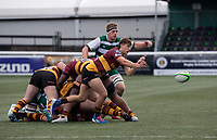 Sam Bryan of Ampthill RUFC passes the ball during the Greene King IPA Championship match between Ealing Trailfinders and Ampthill RUFC being played behind closed doors due to the COVID-19 pandemic restrictions at Castle Bar , West Ealing , England  on 13 March 2021. Photo by Alan Stanford / PRiME Media Images