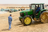 EGYPT, Farafra, potato farming in the desert, washing of tractor / AEGYPTEN, Farafra, United Farms, Kartoffelanbau in der Wueste, Traktor Waesche