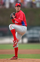 March 25, 2010:  Pitcher Brody Colvin of the Philadelphia Phillies organization during a Spring Training game at the Carpenter Complex in Clearwater, FL.  Photo By Mike Janes/Four Seam Images