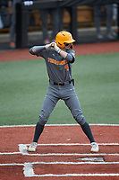 Liam Spence (4) of the Tennessee Volunteers at bat against the Charlotte 49ers at Hayes Stadium on March 9, 2021 in Charlotte, North Carolina. The 49ers defeated the Volunteers 9-0. (Brian Westerholt/Four Seam Images)