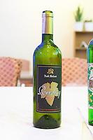 Bottle of Isak Delvine Riesling Tirana capital. Albania, Balkan, Europe.