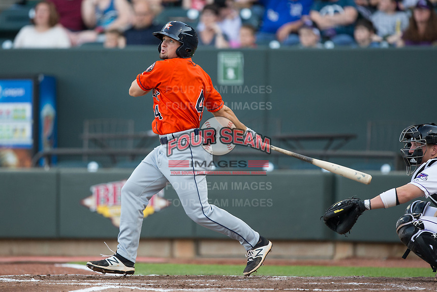 Ryne Birk (4) of the Buies Creek Astros follows through on his swing against the Winston-Salem Dash at BB&T Ballpark on April 15, 2017 in Winston-Salem, North Carolina.  The Astros defeated the Dash 13-6.  (Brian Westerholt/Four Seam Images)