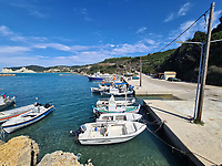 The small port of Agios Stefanos in northern Corfu, Greece. Thursday 03 September 2020