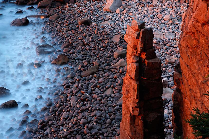 Monument, Monument Cove and Boulder Beach at dawn, Acadia National Park, near Bar Harbor, Maine, USA