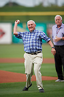 Florida State League President Ken Carson throws out the ceremonial first pitch before a game between the Clearwater Threshers and Dunedin Blue Jays on April 4, 2019 at Spectrum Field in Clearwater, Florida.  Dunedin defeated Clearwater 11-1.  (Mike Janes/Four Seam Images)