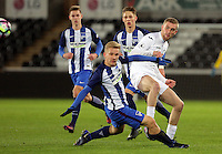 Pictured: Oli McBurnie of Swansea (R) is challenged by a Hertha Berlin player Tuesday 28 February 2017<br /> Re: Premier League International Cup, Swansea City U23 v Hertha Berlin II at at the Liberty Stadium, Swansea, UK