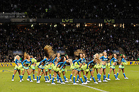 LV= Girls entertain fans during half time of the Aviva Premiership match between Harlequins and Saracens at Twickenham on Tuesday 27 December 2011 (Photo by Rob Munro)