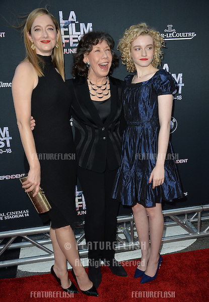 """Judy Greer, Lily Tomlin & Julia Garner at the premiere of their movie """"Grandma"""", the opening movie of the Los Angeles Film Festival, at the Regal Cinema LA Live.<br /> June 11, 2015  Los Angeles, CA<br /> Picture: Paul Smith / Featureflash"""