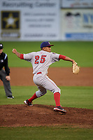 Auburn Doubledays relief pitcher Gilberto Chu (25) delivers a pitch during a game against the Batavia Muckdogs on August 26, 2017 at Dwyer Stadium in Batavia, New York.  Batavia defeated Auburn 5-4.  (Mike Janes/Four Seam Images)