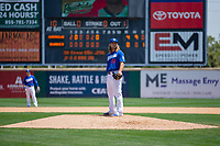 Rancho Cucamonga Quakes Stetson Allie (23) between innings of the game against the Visalia Rawhide at LoanMart Field on May 14, 2018 in Rancho Cucamonga, California. The Rawhide defeated the Quakes 5-0.  (Donn Parris/Four Seam Images)