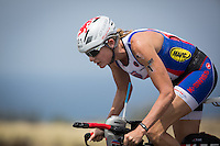2012 Women's Ironman World Champion on the bike at the 2013 Ironman World Championship in Kailua-Kona, Hawaii on October 12, 2013.