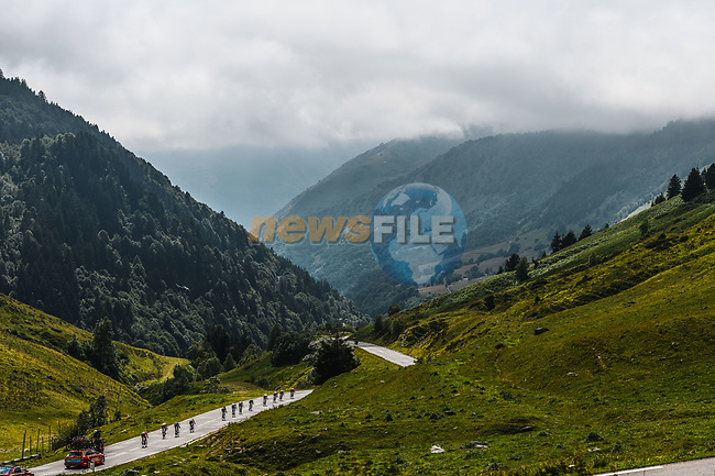 The breakaway descends Col du Tourmalet during Stage 18 of the 2021 Tour de France, running 129.7km from Pau to Luz Ardiden, France. 15th July 2021.  <br /> Picture: A.S.O./Charly Lopez   Cyclefile<br /> <br /> All photos usage must carry mandatory copyright credit (© Cyclefile   A.S.O./Charly Lopez)
