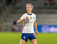 ORLANDO, FL - JANUARY 18: Megan Rapinoe #15 of the USWNT reacts to a missed shot during a game between Colombia and USWNT at Exploria Stadium on January 18, 2021 in Orlando, Florida.
