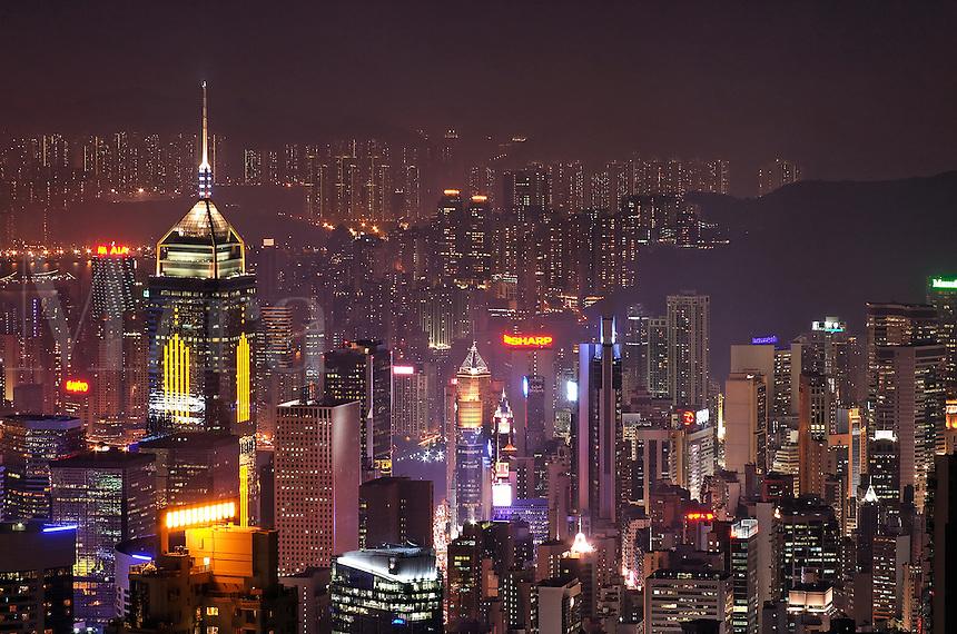 Hong Kong city skyline viewed from Victoria Peak at night, Hong Kong SAR, China, Asi