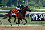 SARATOGA SPRINGS, NY - AUGUST 25: Marley's Freedom  #7, ridden by jockey Mike Smith, wins the Ballerina Stakes on Travers Stakes Day at Saratoga Race Course on August 25, 2018 in Saratoga Springs, New York. (Photo by Rob Simmons/Eclipse Sportswire/Getty Images)