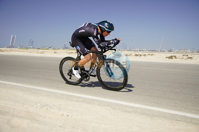 Asbjorn Andersen (DEN) Team DSM during Stage 2 of the 2021 UAE Tour an individual time trial running 13km around  Al Hudayriyat Island, Abu Dhabi, UAE. 22nd February 2021.  <br /> Picture: Eoin Clarke | Cyclefile<br /> <br /> All photos usage must carry mandatory copyright credit (© Cyclefile | Eoin Clarke)