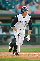 Louisville first baseman Joey Votto (5) follows through on his swing versus Charlotte at Louisville Slugger Field in Louisville, KY, Wednesday, June 6, 2007.